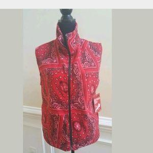 Black Mountain Red Fleece Vest Sz Small